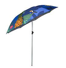 Зонт пляжный усиленный - 2 м. Синий, ананасы - большой складной зонтик на пляж