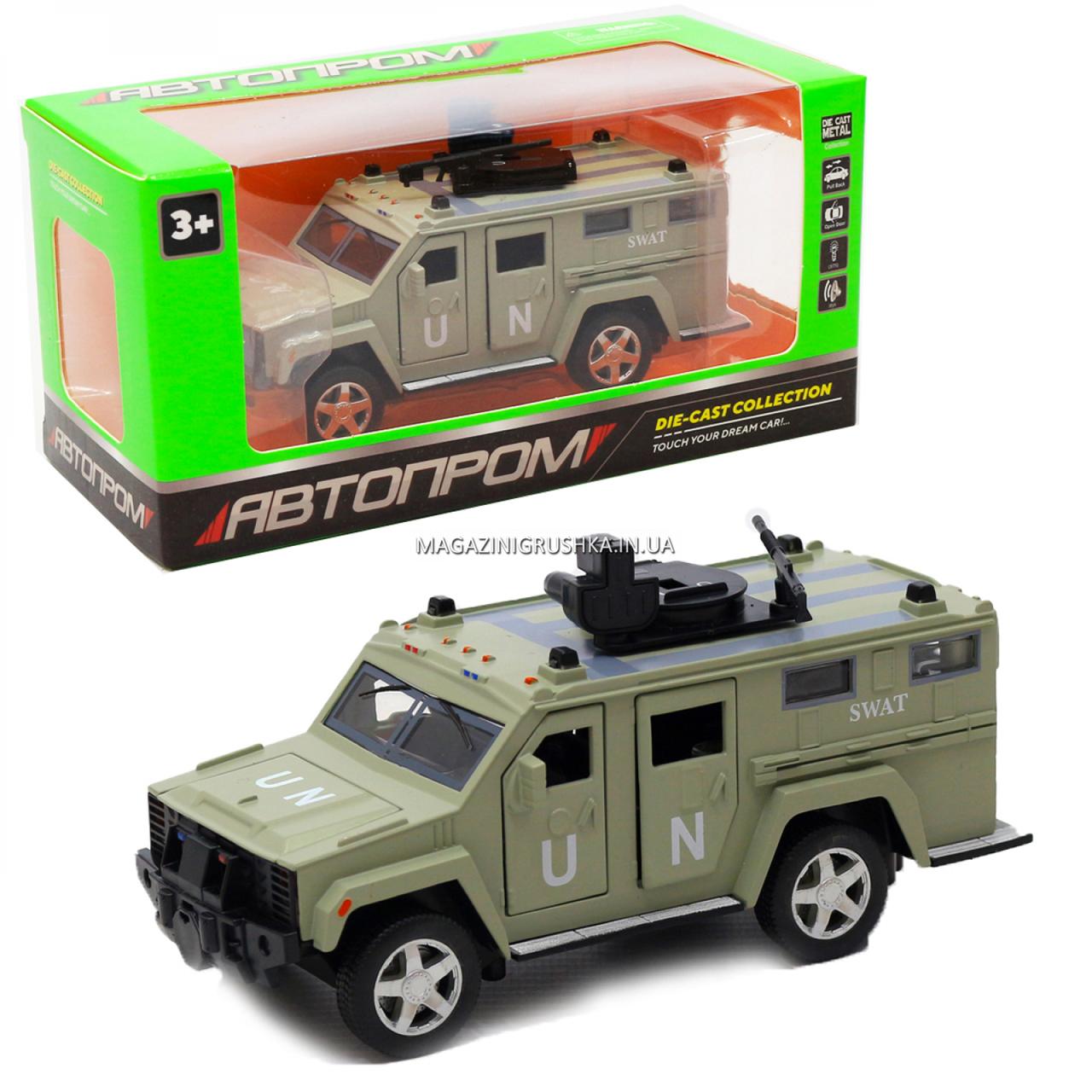 Игрушечная машинка металлическая «Военная техника», Автопром, светло-зеленый, от 3 лет, 7*15*6 см, (6623)