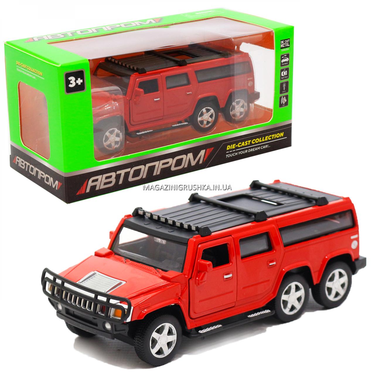Іграшкова машинка металева джип «Hummer», Автопром, червоний, 6*16*6 см, від 3 років, (6618)