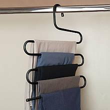 Железная многоуровневая вешалка для одежды, черная, вешалка для одежды, брюк   вішак для одягу металевий
