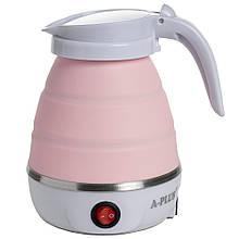 Силиконовый дорожный Электро-чайник А-Плюс WDL-09B 600 мл (Розовый) электрический складной (електрочайник)