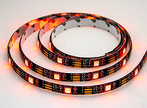 Светодиодная LED лента с пультом 5050 черная на 2м. RGB диодная + РГБ ЛЕД контроллер | світлодіодна стрічка