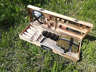 Набор из 5 шампуров для мяса (600х10х3 мм) + комплект аксессуаров в деревянном кейсе