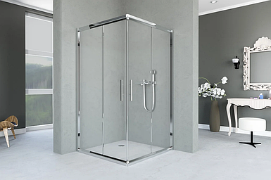 Душевая кабина Aquanil INDIANA 75х75х190, раздвижные двери, профиль серебристый, прозрачное стекло, без поддон