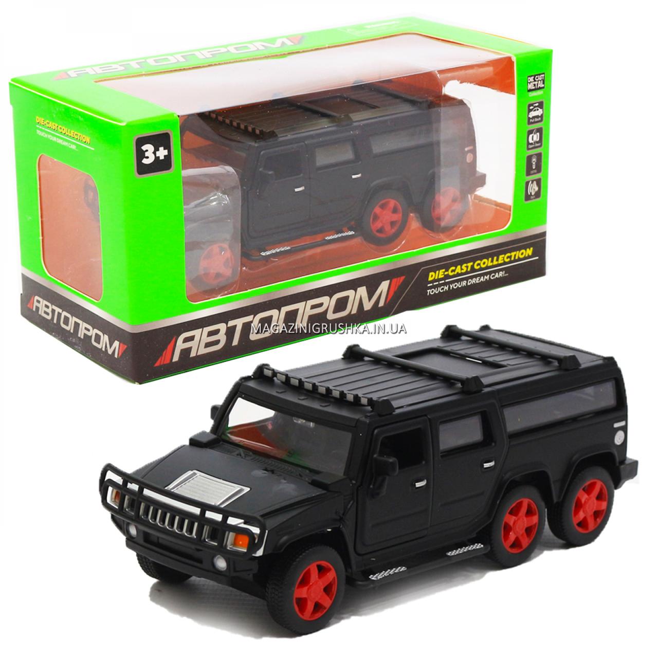 Игрушечная машинка металлическая джип «Hummer», Автопром, черный, 6*16*6 см, от 3 лет, (6618)
