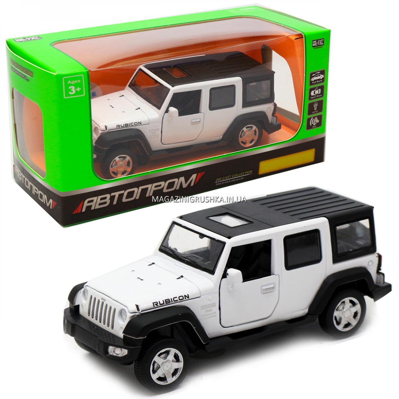 Іграшкова машинка металева джип «Jeep», Автопром, білий, 6*15*6 см, від 3 років, (6616)