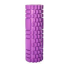 Массажный валик для спины фиолетовый 30х10 см, пенный массажный ролл, ролик для разминки мышц спины