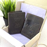 """Подарочный набор №35: обложка на паспорт """"Герб"""" + обложка на загранпаспорт """"Карта"""" (коричневый)"""
