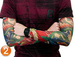 Эластичный тату нарукавник Цветной с яблоком №2 34х9 см, нарукавники с татуировками