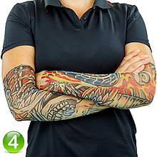 Тату нарукавник Цветной череп с колесом №4 34х9 см, эластичный тату рукав детский | еластичний тату нарукавник