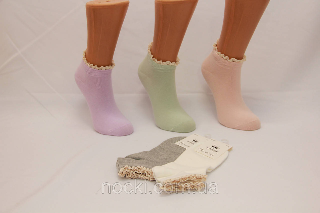 Женские носки средние с рюшей КОРОНА BY229-2 37-41 пастель ассорти