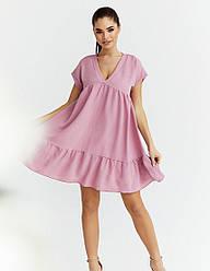 Женское розовое летнее платье мини свободного кроя