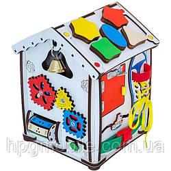 Эко - Бизиборд GoodPlay, Развивающий домик с подсветкой (24см×24см×30см)