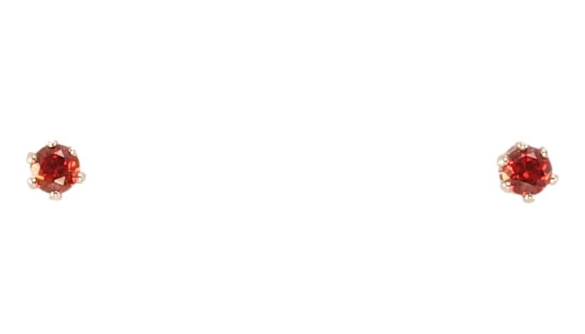 """Серьги ХР Родий гвоздики (пусеты) """"Красный кристалл в 6-ти крапановой оправе"""" ø 2мм"""