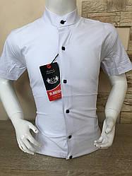 Біла дитяча стрейчева сорочка з коротким рукавом -стійка 4-7
