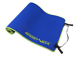 Килимок (мат) для йоги та фітнесу SportVida Neopren 6 мм SV-HK0038 Blue