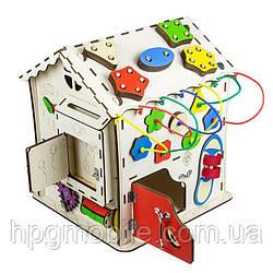 Эко - Бизиборд GoodPlay, Развивающий домик (30см×30см×40см)