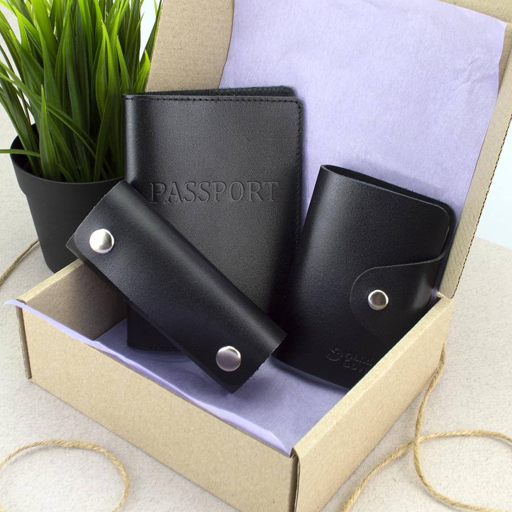Подарунковий набір №21: обкладинка на паспорт +картхолдер + ключниця (чорний)