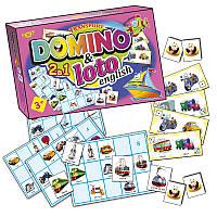"""Детская развивающая настольная игра """"Домино+Лото. Транспорт"""" MKC0220 на англ. языке"""