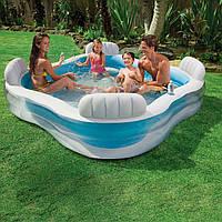 Бассейн семейный надувной INTEX 56475 большой квадратный для дома и дачи, Бассейн для всей семьи 229х229х66 см