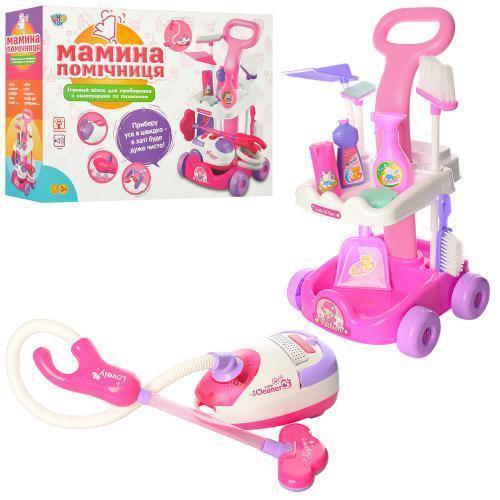 Игровой набор для уборки Bambi A5938, игрушечный пылесос, всасывает, светится, тележка