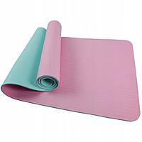 Коврик (мат) для йоги та фітнесу SportVida TPE 6 мм SV-HK0227 Pink/Sky Blue