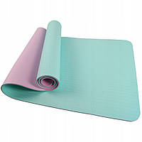 Коврик (мат) для йоги та фітнесу SportVida TPE 6 мм SV-HK0228 Sky Blue/Pink