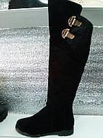 Ботфорты женские зима замша натуральная на низком каблуке