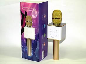 Мікрофон з караоке для дітей Q7 Bluetooth упакований у футляр, підключається до телефону (колір Золотий)