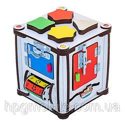 Эко - Бизиборд GoodPlay, Развивающий кубик с подсветкой (17×17×18)