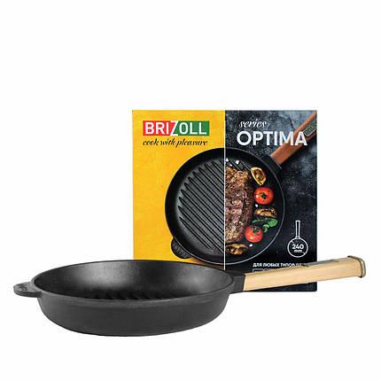 Чугунная сковорода гриль Optima, 240х40 мм Brizoll, фото 2