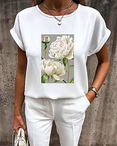 Стильная женская футболка-блуза с летними принтами 42-56 р
