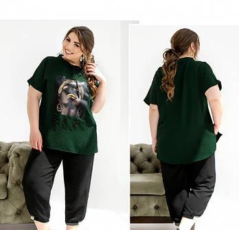 / Размер 50-52,58-60 / Женский костюм в стиле casual туникой и брюками-капри / 2261-Зеленый