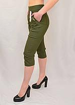 Бриджі жіночі бавовняні Капрі стрейчеві в оливковому кольорі (Польща) L/XL, фото 2