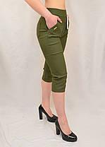 Бриджі жіночі бавовняні Капрі стрейчеві в оливковому кольорі (Польща) L/XL, фото 3