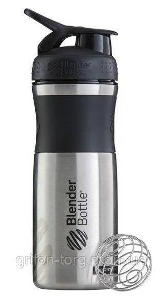 Спортивна пляшка-шейкер BlenderBottle SportMixer Stainless Steel Black 820ml (з нержавіючої харчової сталі)