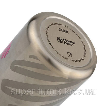Спортивна пляшка-шейкер BlenderBottle SportMixer Stainless Steel Black 820ml (з нержавіючої харчової сталі), фото 2