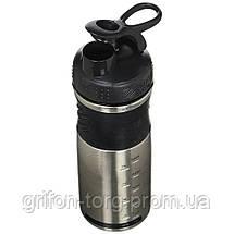 Спортивна пляшка-шейкер BlenderBottle SportMixer Stainless Steel Black 820ml (з нержавіючої харчової сталі), фото 3