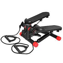 Степпер (міні-степпер) з еспандерами SportVida SV-HK0282 Black/Red