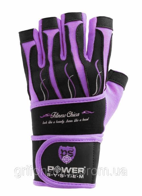 Рукавички для фітнесу і важкої атлетики Power System Fitness Chica жіночі PS-2710 Purple S