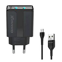 Зарядний пристрій мережевий microUSB 1xUSB 2.1 А 5V CH-15UMB Grand-X Black
