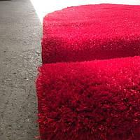2.00х3.00  Овальный красный с высоким ворсом  polyestir