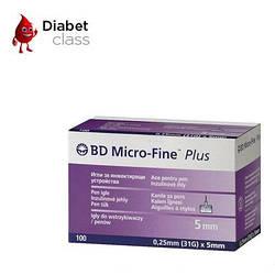 """Иглы для шприц-ручек BD Micro-Fine+ """"МикроФайн"""" 5мм 100шт ( 2 упаковки )"""