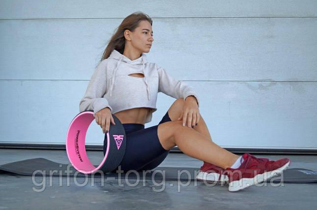 Йога колесо для фітнесу і аеробіки Power System Yoga Wheel Pro PS-4085 Black/Pink, фото 2