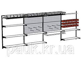 Металевий настінний стелаж Н1450х950 мм ТИП 11(МЯ), універсальний стелаж