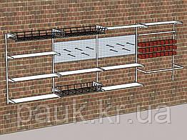 Стелаж настінний Н1450х950 мм ТИП 10(МЯ), стелажі з полицями і контейнерами, система стелажів для зберігання