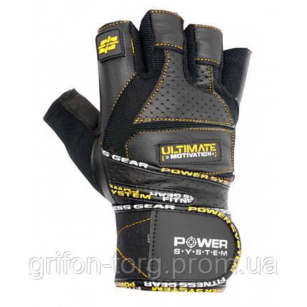 Рукавички для фітнесу і важкої атлетики Power System Ultimate Motivation PS-2810 Black Yellow Line XL, фото 2