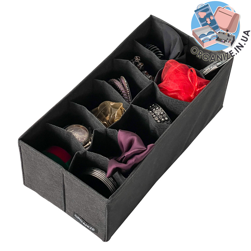 Коробочка с квадратными ячейками 30*15*10 см ORGANIZE (черный)