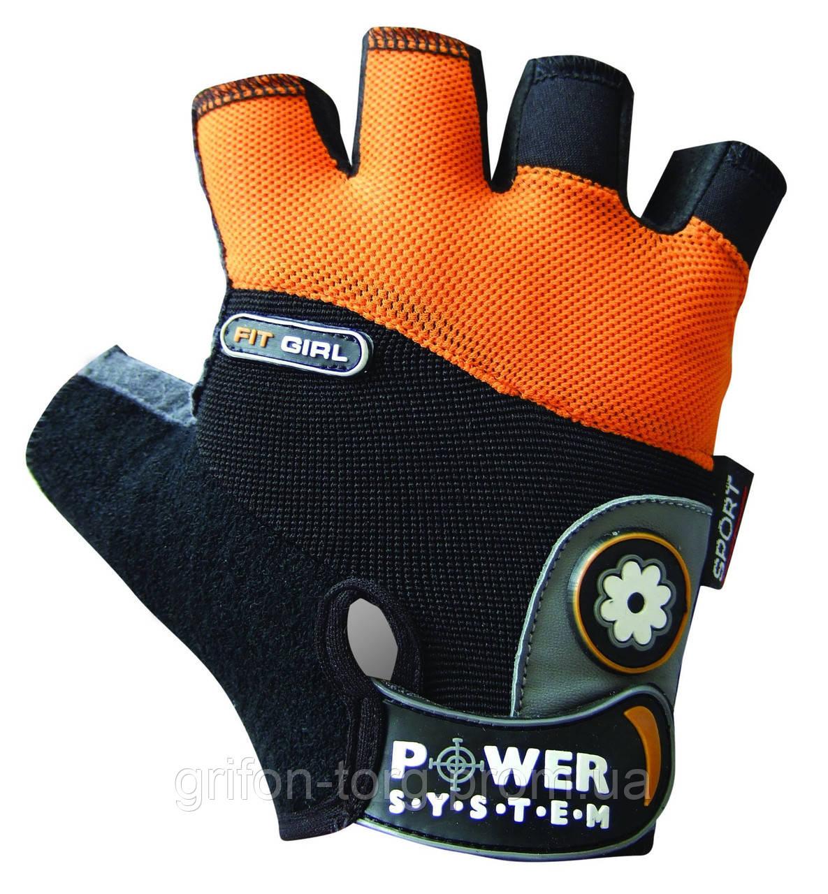 Рукавички для фітнесу і важкої атлетики Power System Fit Girl Жіночі PS-2900 Black/Orange M