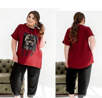/ Размер 50-52,54-56,58-60,62-64 / Женский костюм в стиле casual туникой и брюками-капри / 2261-Красный